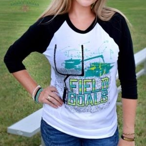 Crazy Train Tractor Football NWT Small Raglan Tee